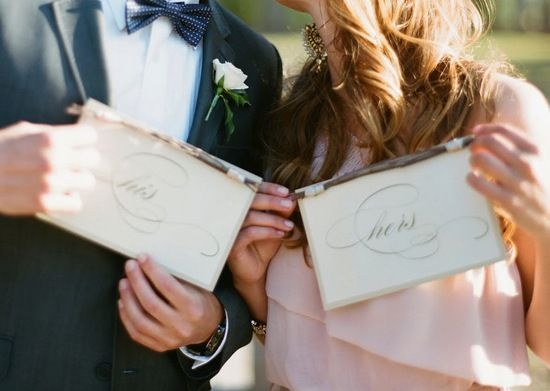 Romantic His and Hers Wedding Signs