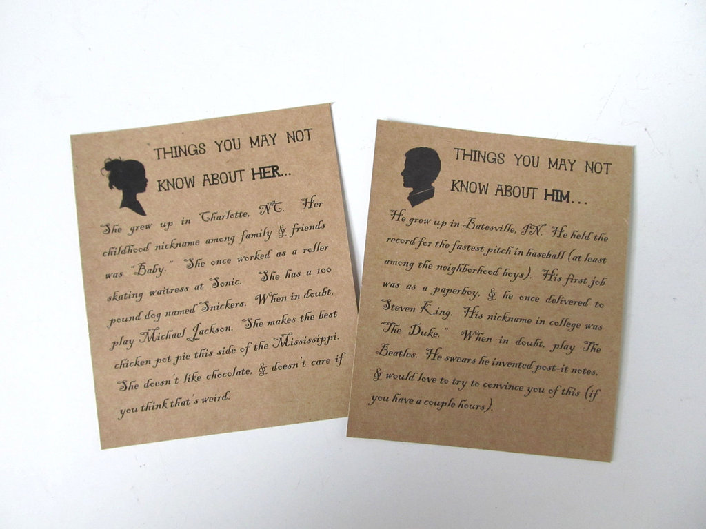 His and Hers Wedding Cards with Fun Facts