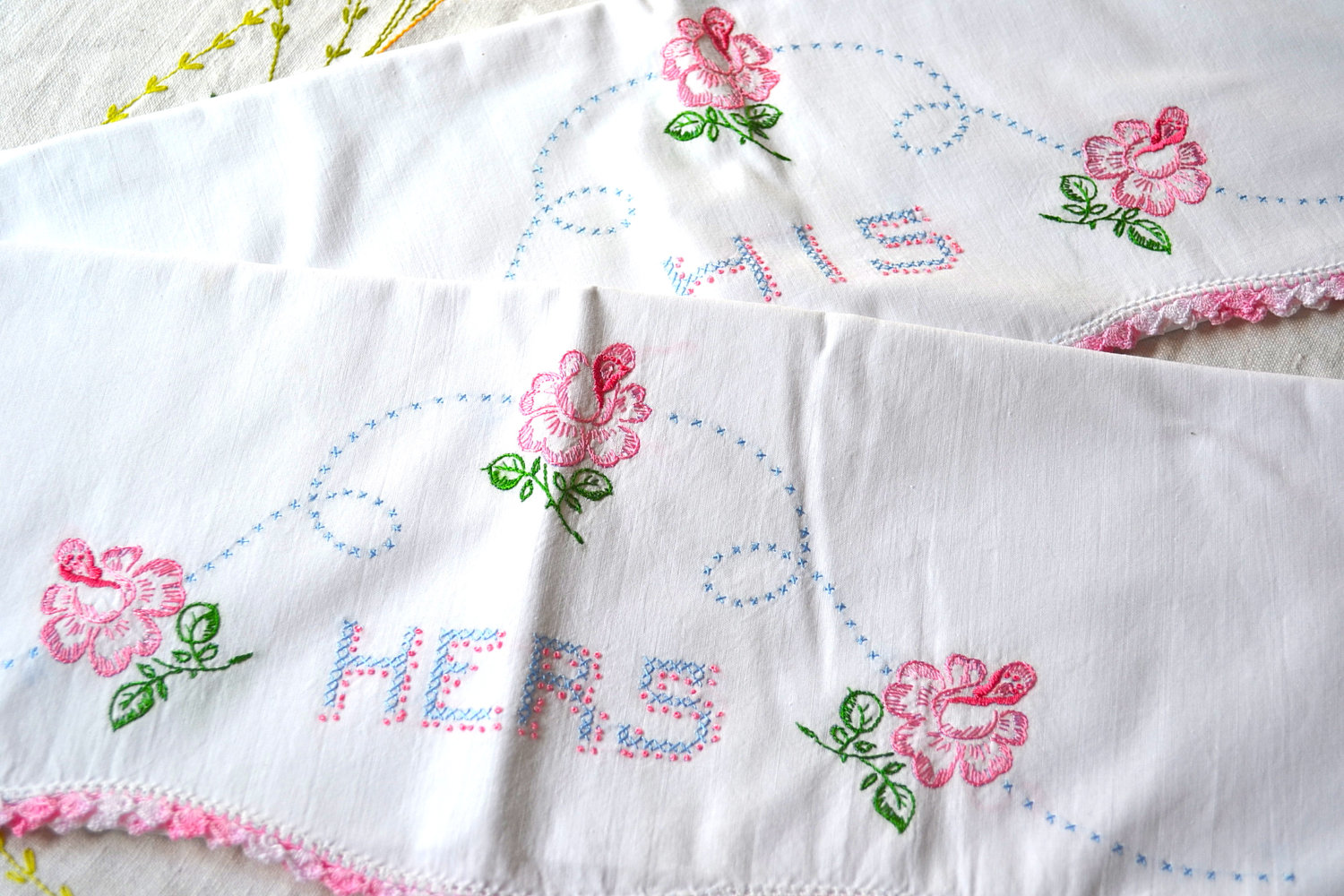 Wedding Gift Ideas Embroidered : His and Hers Embroidered Hankies wedding gift ideas OneWed.com
