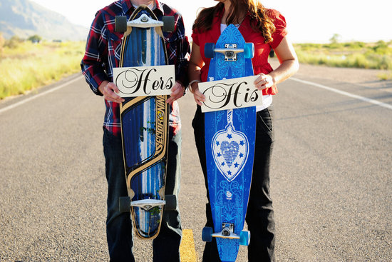 His and Hers Wedding Signs on Skate Boards