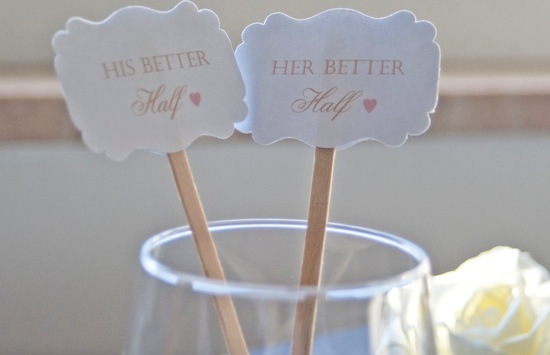 Romantic wedding drink stirs his and hers