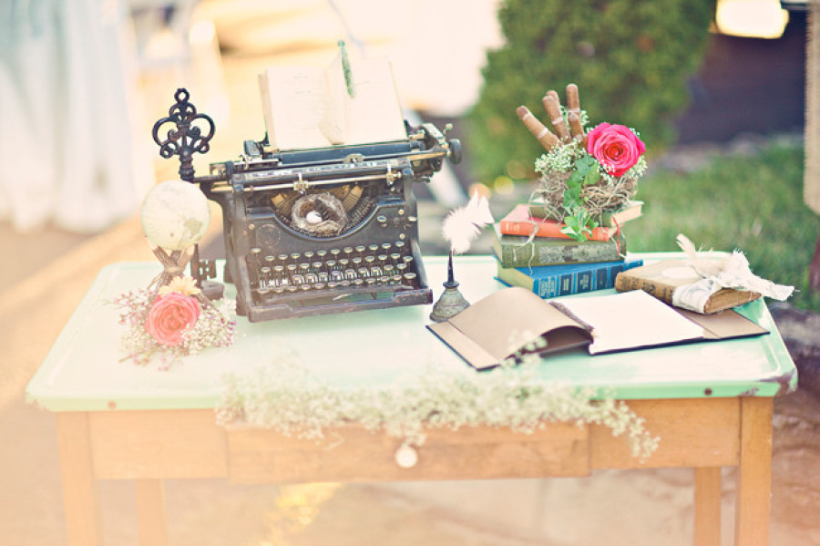 Vintage-wedding-welcome-table-antique-typewriter-books-and-more.full