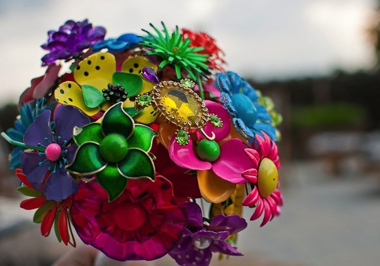 Neon vintage wedding brooch bouquet