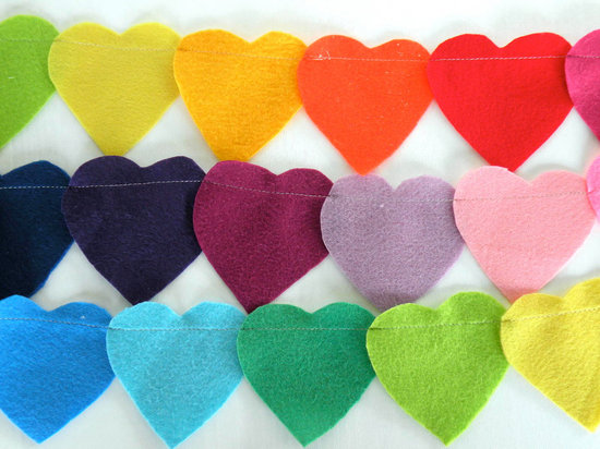 Rainbow heart wedding garland