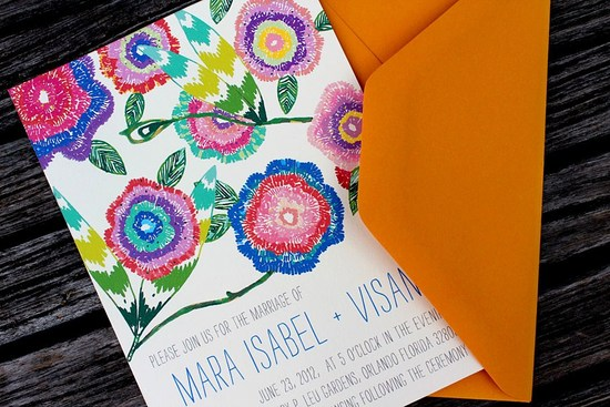 Bright botanical wedding invitation