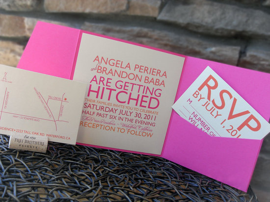 Neon pink orange tan wedding invitations