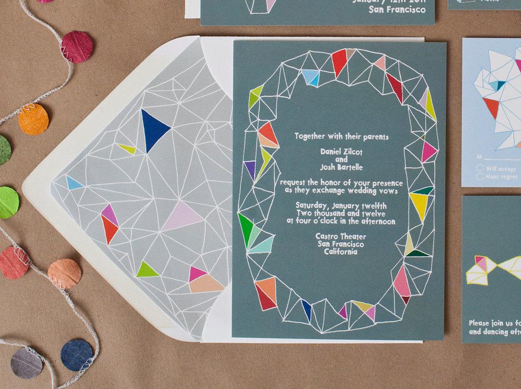 Colorful Kites wedding invitation