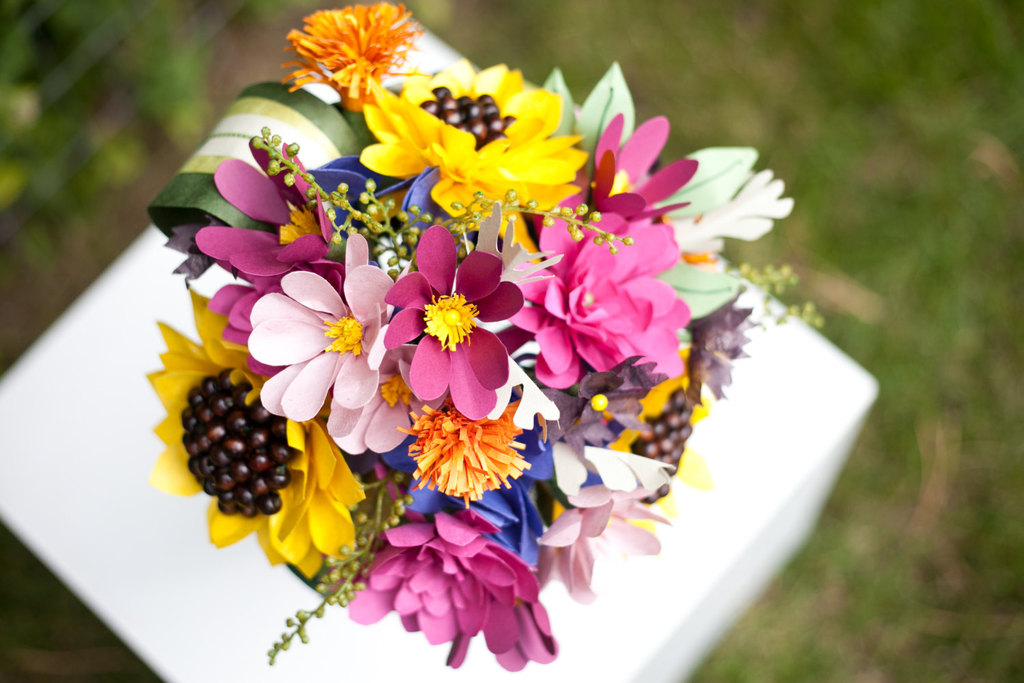 Wildflower wedding bouquet of paper blooms