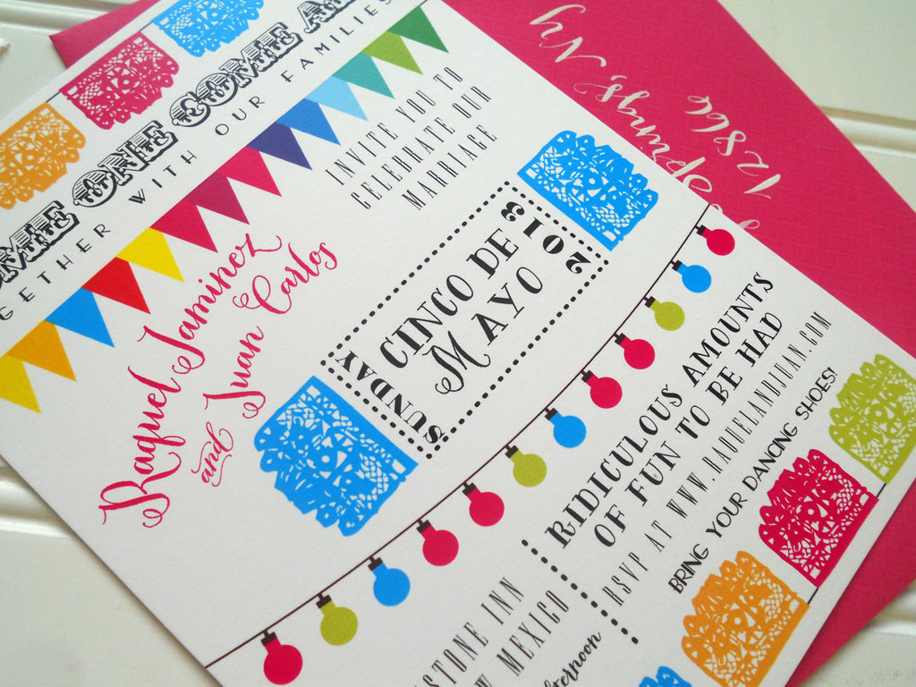 Cinco de Mayo colorful wedding invitations