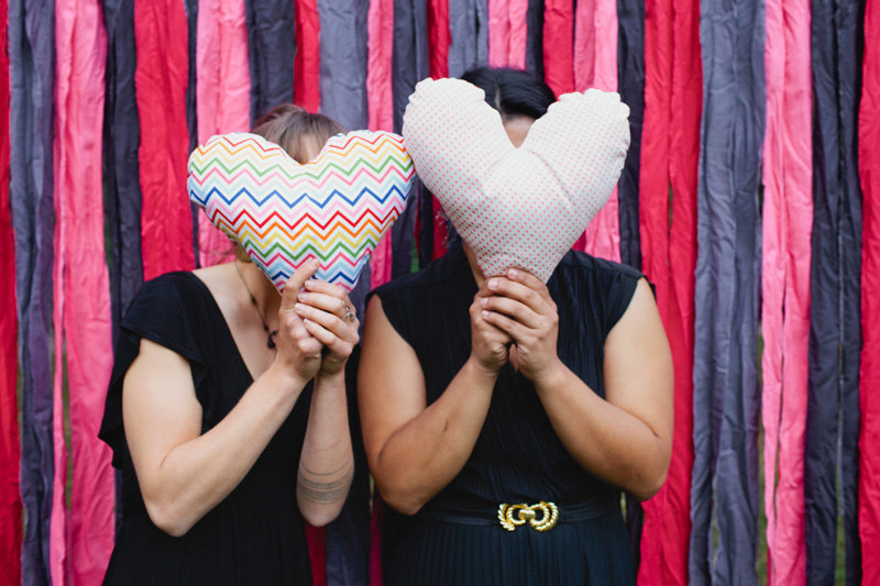 Colorful chevron heart pillow for reception photo booth