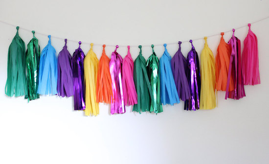 Colorful rainbow wedding garland tassels