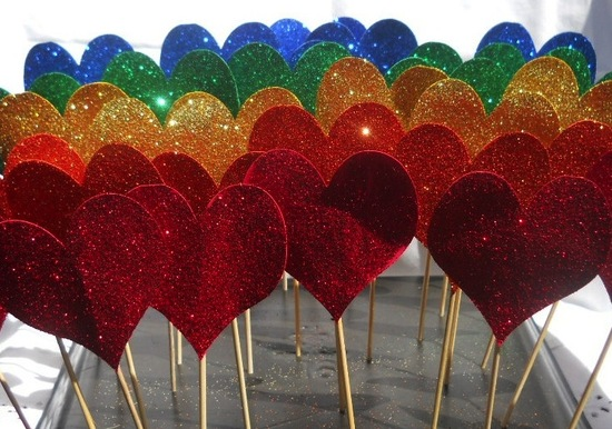 Colorful sparkle heart wedding cupcake toppers