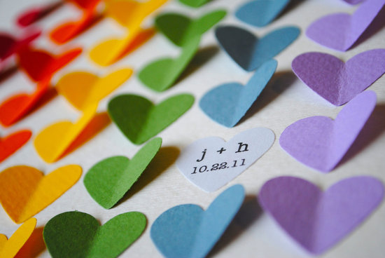 Rainbow hearts wedding escort cards