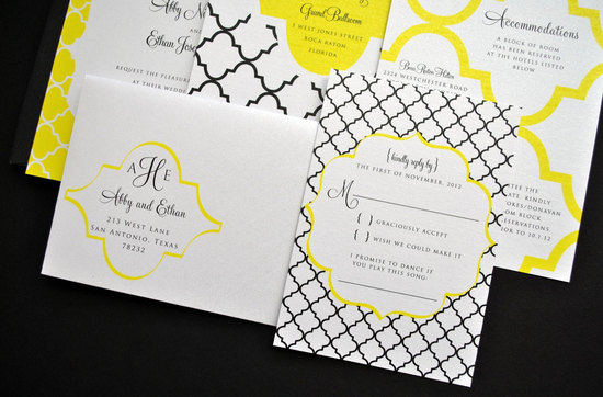 White yellow black memorable wedding invitations