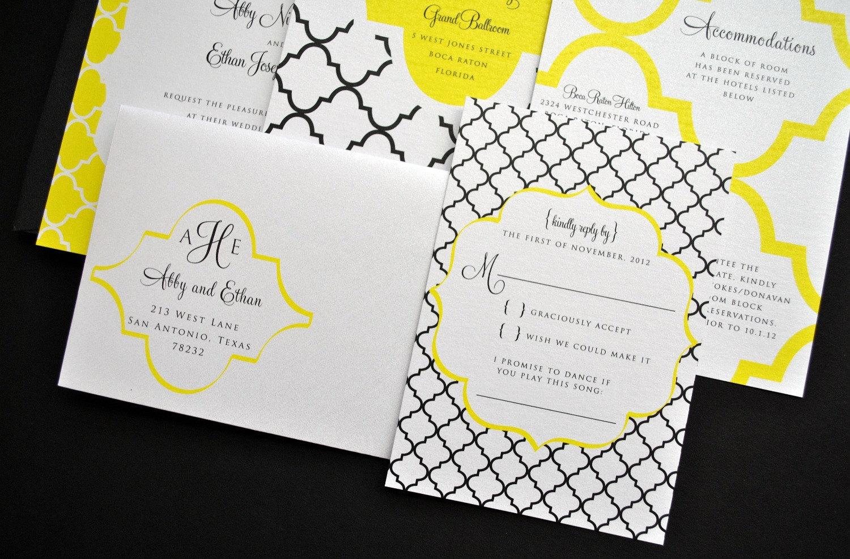 black and yellow wedding invitations - 28 images - wedding ...