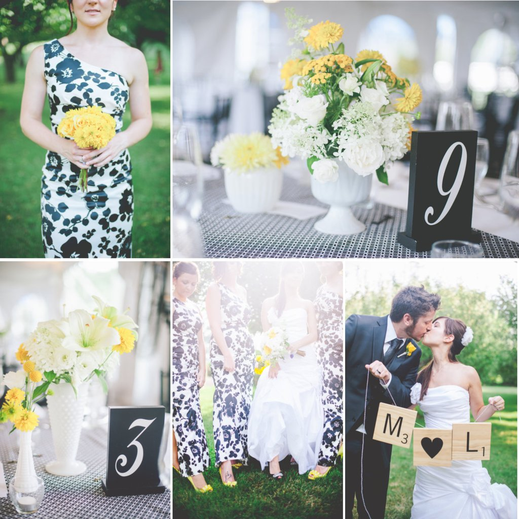 and Bright Wedding Color Palette black yellow white
