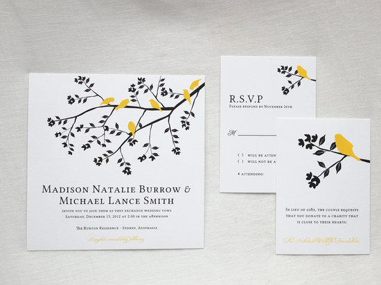 Classic romantic wedding invitations black yellow white