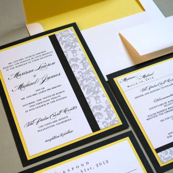 Classic damask wedding invitations black white yellow