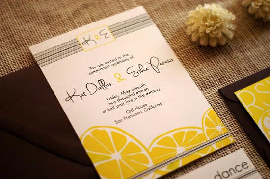 Modern lemon wedding invitations