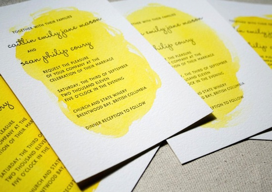 yellow white black watercolor wedding invites