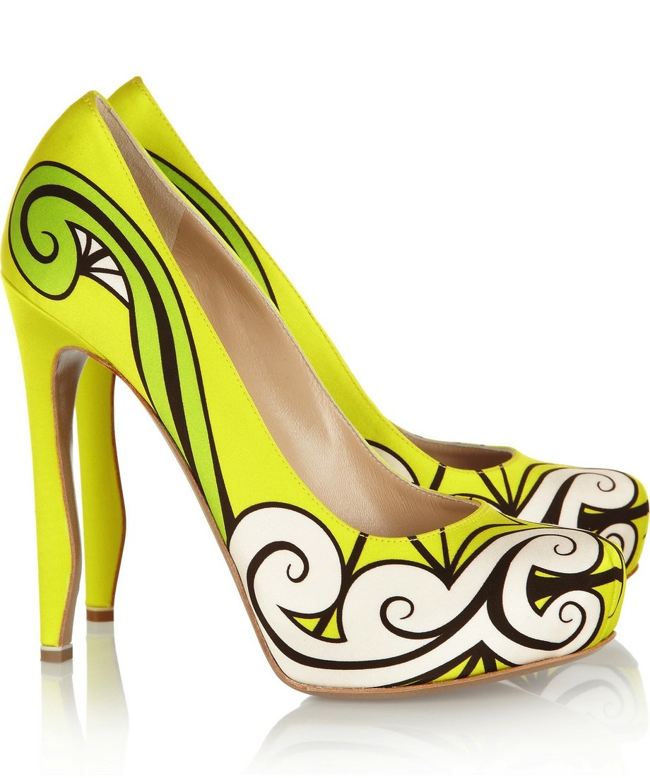 Funky Wedding Shoes Yellow Lime Black And White