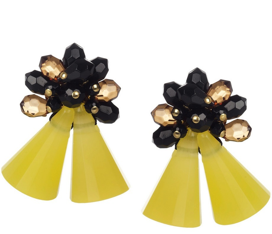 Yellow and black bridesmaid earrings