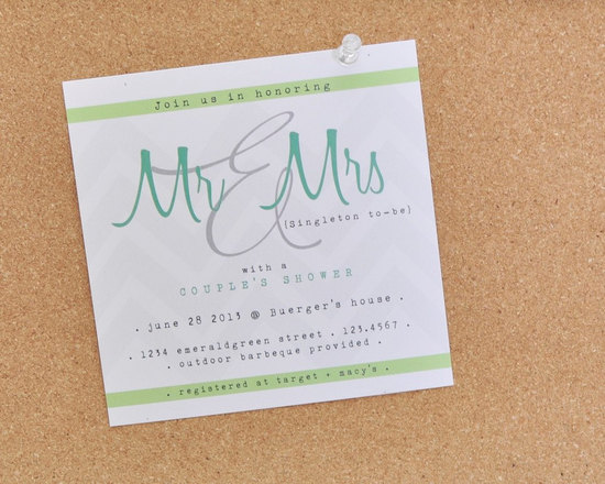 Elegant couples shower wedding invite aqua green white