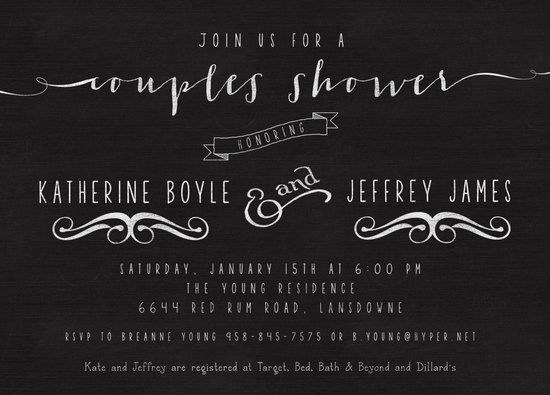Black chalkboard style wedding shower invitation