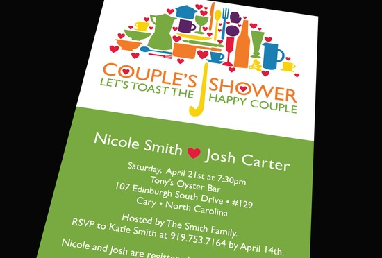 Bright wedding couples shower invitation