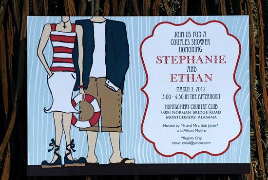 Nautical wedding ideas couples shower invitation