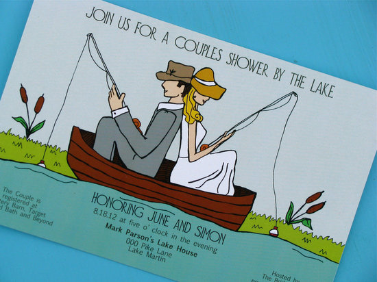 Vintage couples wedding shower by the lake invitation