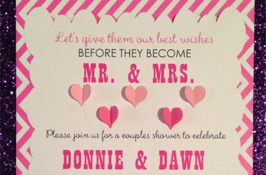 Pink and ecru striped couples shower wedding invite