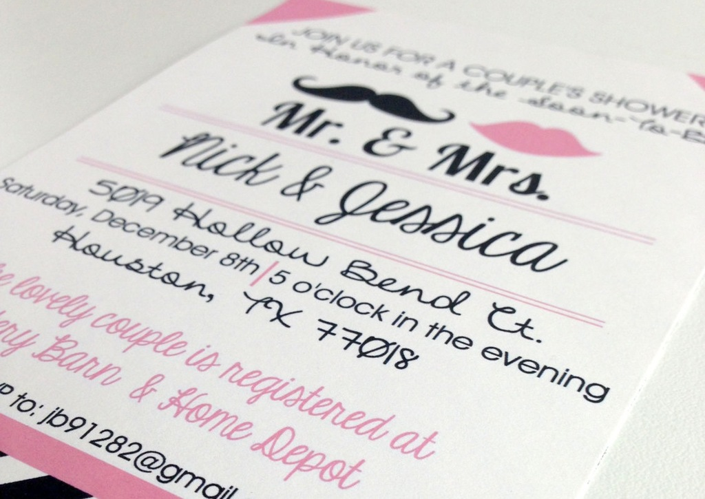 Pink black white couples shower wedding invitation