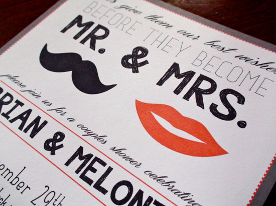 Lips and Mustache wedding shower invitation