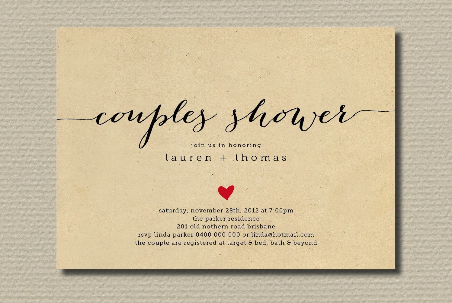 Simple wedding shower invitation couples with heart  OneWed.com