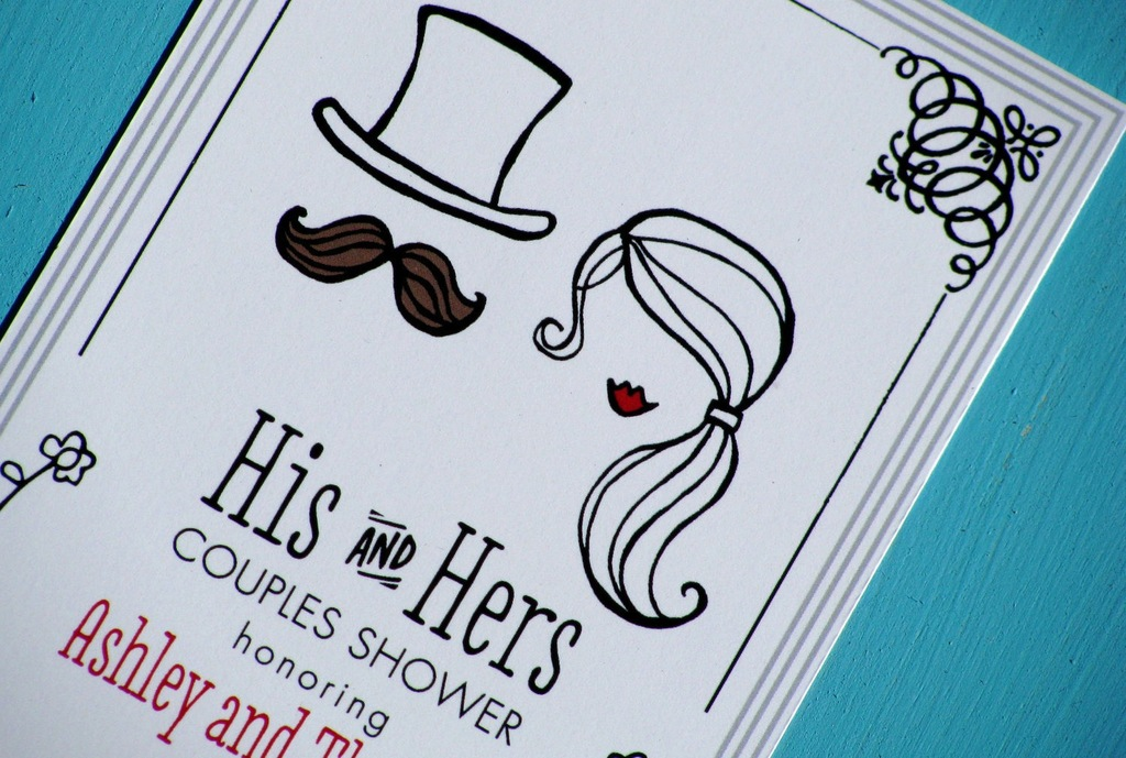 His and hers illustrated wedding couples shower invites