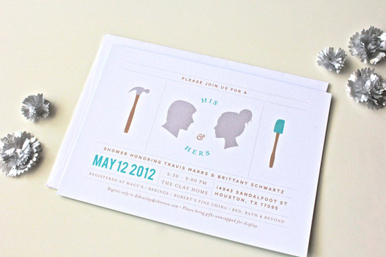 His and Hers Couples Wedding Shower Invitations Silhouettes