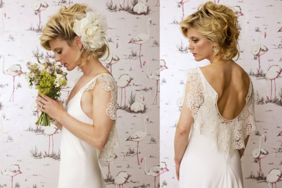 open back silk crepe wedding dress