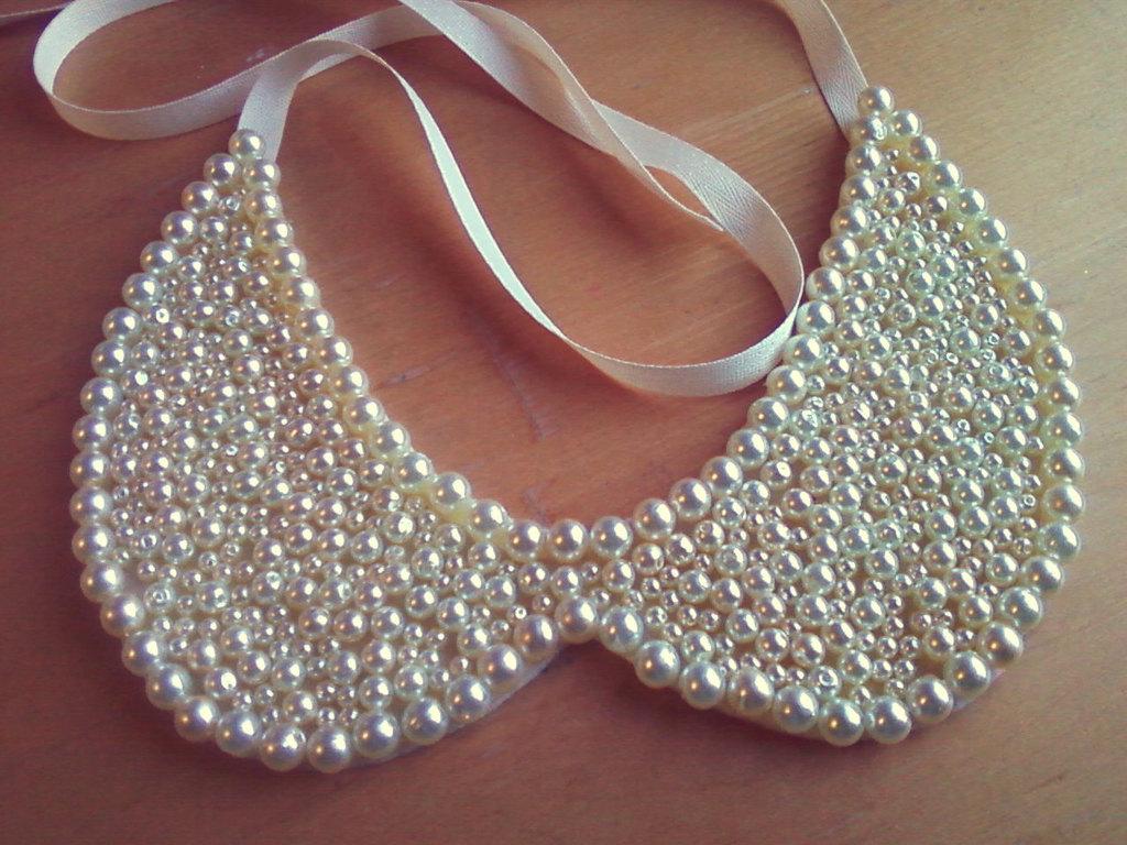 pearl beaded wedding collar necklace