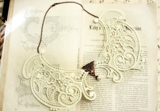 Vintage lace wedding necklace with copper brooch