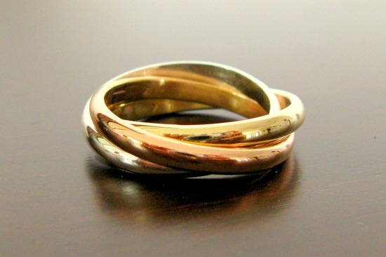 Mixed metal wedding band Cartier inspired