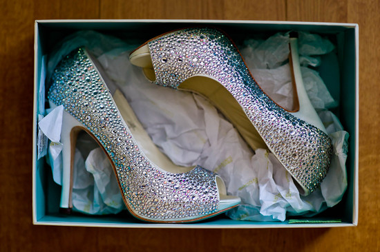 Crystal encrusted wedding heels ready to debut