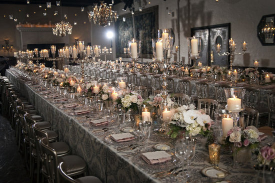 Silver blush and ivory wedding reception tables with candles galore