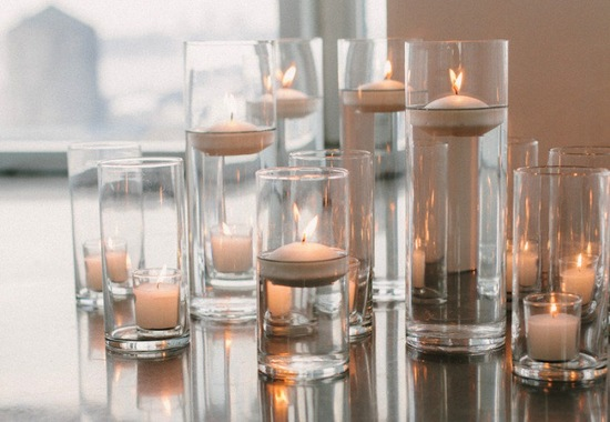 Modern minimalist wedding decor hurricane candles