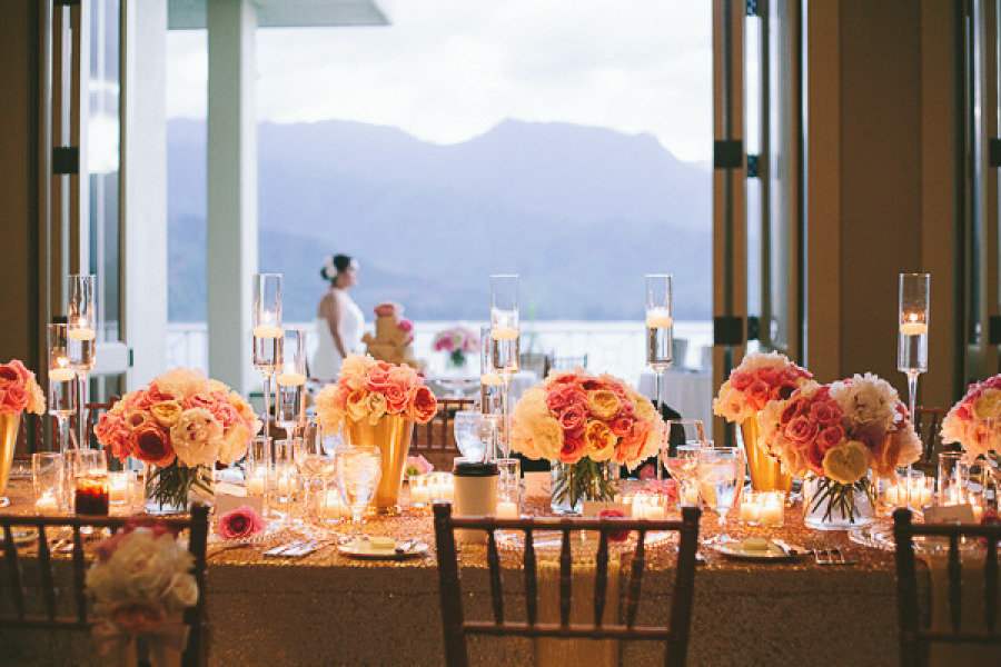 Lakeside wedding venue with romantic reception tables
