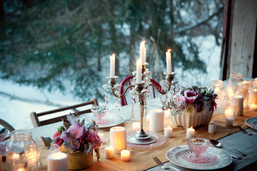 Romantic Wedding Reception Tables With Candelabra And Votives