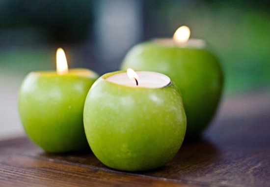 Green apples converted into votives for wedding reception