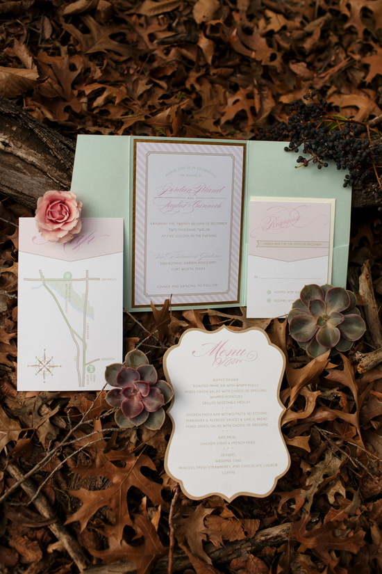Elegant Mint, Gold and Pink Wedding Suite