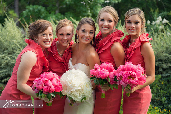 bridesmaids in pink gowns 8