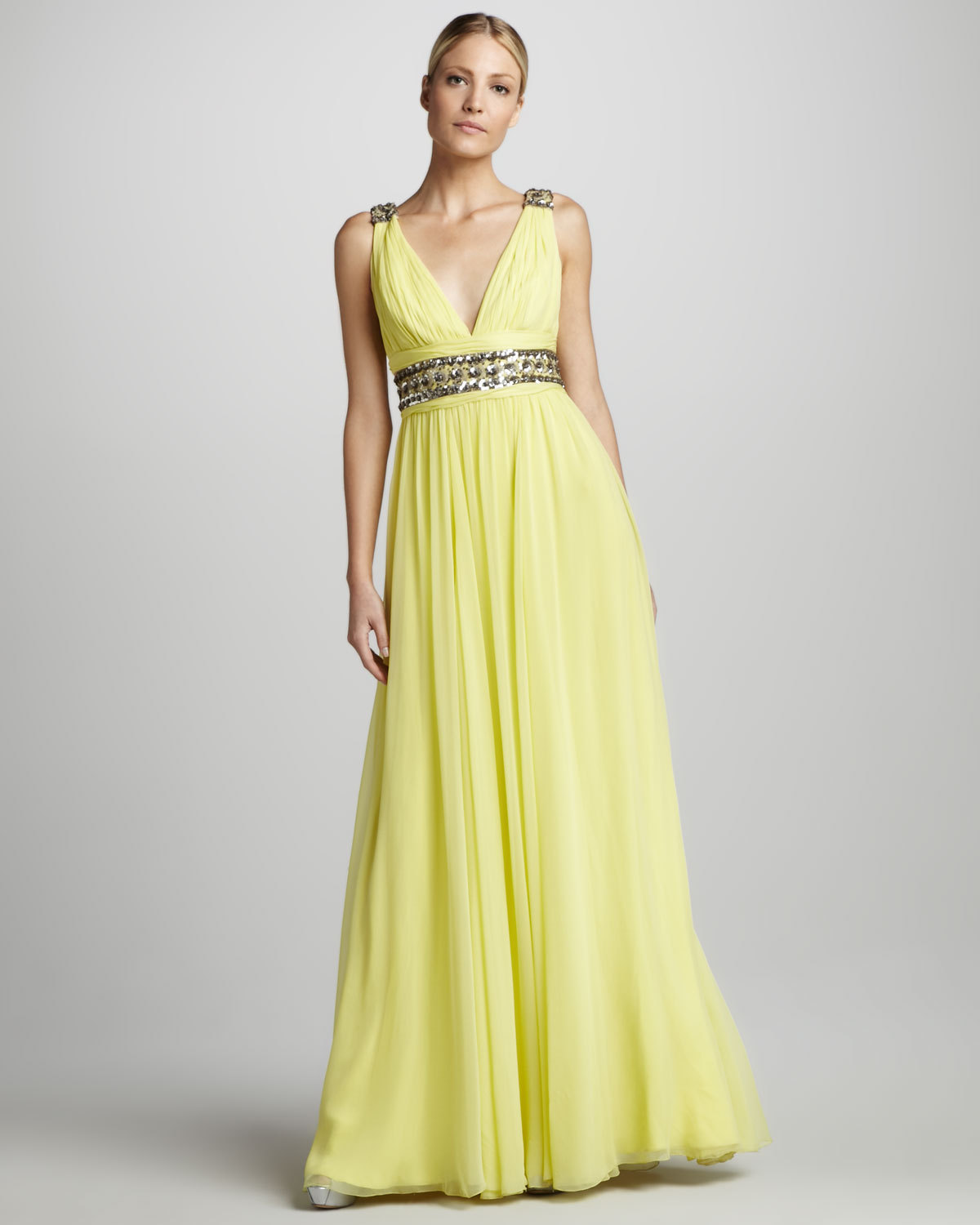 Yellow v neck bridesmaid dress for Yellow dresses for weddings